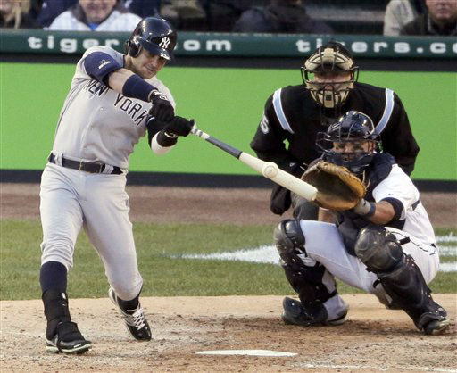 New York Yankees&#39; Nick Swisher hits a RBI double in the sixth inning during Game 4 of the American League championship series against the Detroit Tigers Thursday, Oct. 18, 2012, in Detroit. &#40;AP Photo&#47;Charlie Riedel&#41; <span class=meta>(AP Photo&#47; Charlie Riedel)</span>