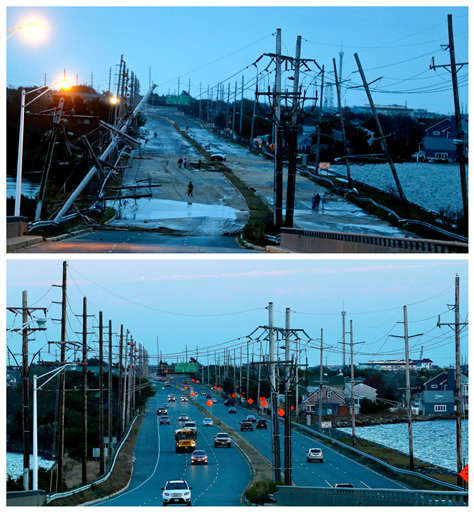 "<div class=""meta ""><span class=""caption-text "">This combination of Oct. 30, 2012 and Oct. 22, 2013 photos shows downed power lines and a battered road smashed by Superstorm Sandy in Seaside Heights, N.J. and traffic flowing at the same site nearly a year later. (AP Photo/Julio Cortez)</span></div>"