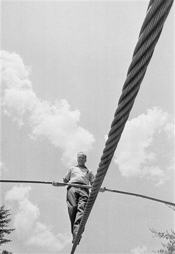 Aerialist Karl Wallenda makes a short walk at Tallulah Falls, Georgia on July 16, 1970 on the large cable he plans to use in his 1,000-foot walk on Saturday across Tallulah Gorge at a point where it is 700 feet deep. It was Wallenda?s first walk on the cable and his wife told newsmen she was agitated by its lateral swing. Wallenda has said he believes the walk will be a record stunt. &#40;AP Photo&#47;Charles Kelly&#41; <span class=meta>(AP Photo&#47; Charles Kelly)</span>