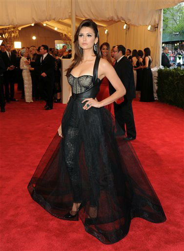 "Actress NIna Dobrev attends The Metropolitan Museum of Art Costume Institute gala benefit, ""Punk: Chaos to Couture"", on Monday, May 6, 2013 in New York. (Photo by Evan Agostini/Invision/AP)"
