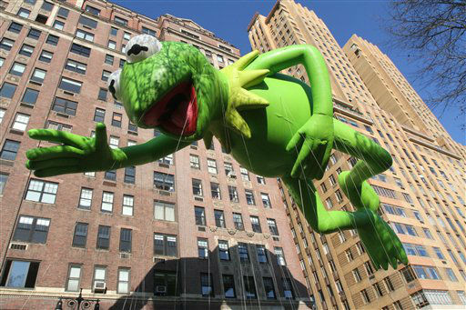 "<div class=""meta ""><span class=""caption-text "">The Kermit the Frog balloon participates in the 86th Annual Macy's Thanksgiving Day Parade Thursday Nov. 22, 2012, in New York. The annual Macy's Thanksgiving Day Parade put a festive mood in the air in a city still coping with the aftermath of Superstorm Sandy.  (AP Photo/Tina Fineberg) (AP Photo/ Tina Fineberg)</span></div>"