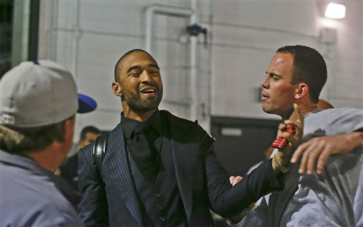 "<div class=""meta ""><span class=""caption-text "">Los Angeles Dodgers' Matt Kemp, left, and San Diego Padres' Clayton Richard have their hands on each other after Richard stopped Kemp when he confronted the Padres' Carlos Quentin in the tunnel walk-way exiting Petco Park following the  baseball game between the Los Angeles Dodgers and San Diego Padres in which a brawl occurred when Quentin was hit by a pitch from the Dodgers' Zack Greinke in San Diego, Thursday, April 11, 2013. Greinke suffered a broken left collarbone in the brawl.   (AP Photo/Lenny Ignelzi) (AP Photo/ Lenny Ignelzi)</span></div>"