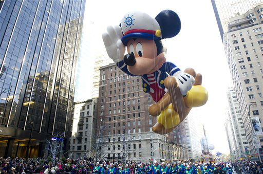 The Sailor Mickey balloon floats in the Macy&#39;s Thanksgiving Day Parade in New York, Thursday, Nov. 22, 2012. . The annual Macy&#39;s Thanksgiving Day Parade put a festive mood in the air in a city still coping with the aftermath of Superstorm Sandy &#40;AP Photo&#47;Charles Sykes&#41; <span class=meta>(AP Photo&#47; Charles Sykes)</span>