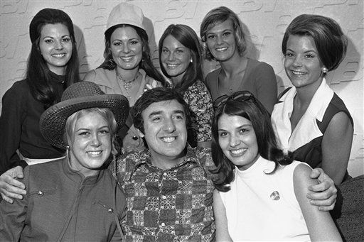Contestants for the Miss Wool of 1971 met with T.V. Star Jim Nabors on June 20, 1971 in Dallas before continuing on the last leg of their journey of San Angelo, Tex., where the contest is to be held. The excited young ladies on the back row are; Judy Womack, Texas; Debbi Higginbotham, Arizona; Paula Breneman, Ohio; Jill Click, Oklahoma; Laurie Rowe, Georgia. Nabors is flanked by Cheri Miller, Colorado and Suzanne Weber, Illinois. &#40;AP Photo&#41; <span class=meta>(AP Photo&#47; R4, N    XCJ)</span>