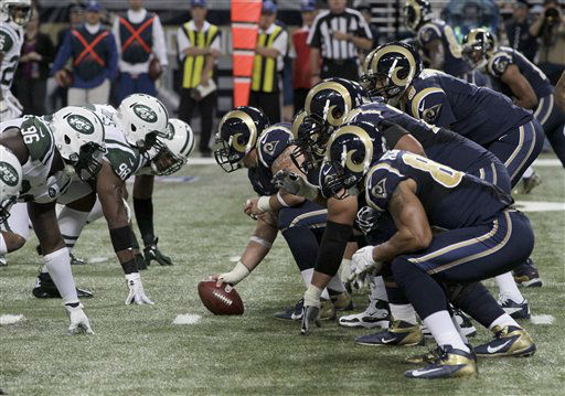"<div class=""meta ""><span class=""caption-text "">Members of the New York Jets, left, and St. Louis Rams line up during the second quarter of an NFL football game Sunday, Nov. 18, 2012, in St. Louis. (AP Photo/Seth Perlman) (AP Photo/ Seth Perlman)</span></div>"