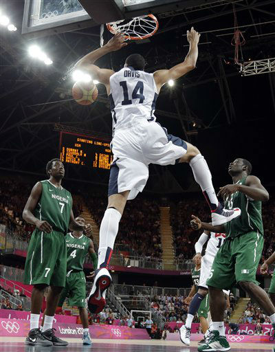 "<div class=""meta ""><span class=""caption-text "">USA's Anthony Davis (14) scores against Nigeria during a preliminary men's basketball game at the 2012 Summer Olympics, Thursday, Aug. 2, 2012, in London. (AP Photo/Eric Gay) (AP Photo/ Eric Gay)</span></div>"