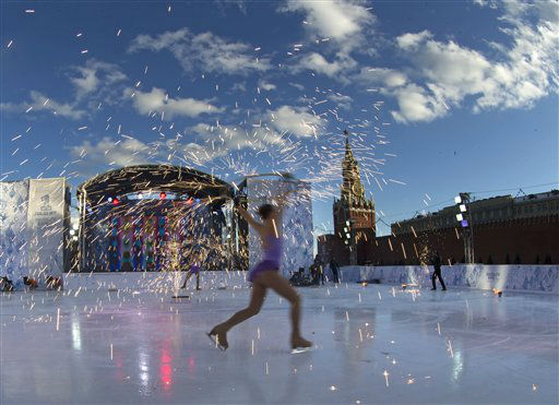 Skaters perform in celebrations  launching the one-year countdown  for the 2014 Sochi Winter Paralympics in Red Square in Moscow, Thursday, March 7, 2013.  &#40;AP Photo&#47;Alexander Zemlianichenko&#41; <span class=meta>(AP Photo&#47; Alexander Zemlianichenko)</span>