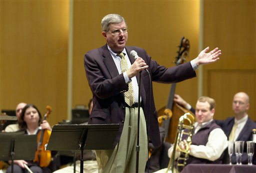 FILE - This March 27, 2003 file photo shows conductor and composer Marvin Hamlisch after being appointed the principal pops conductor for the Buffalo Philharmonic Orchestra at the Kleinhan&#39;s Music Hall in Buffalo, N.Y.  Hamlisch, a conductor and award-winning composer best known for the torch song &#34;The Way We Were,&#34; died Monday, Aug. 6, 2012 in Los Angeles. He was 68. &#40;AP Photo&#47;Don Heupel, file&#41; <span class=meta>(AP Photo&#47; DON HEUPEL)</span>