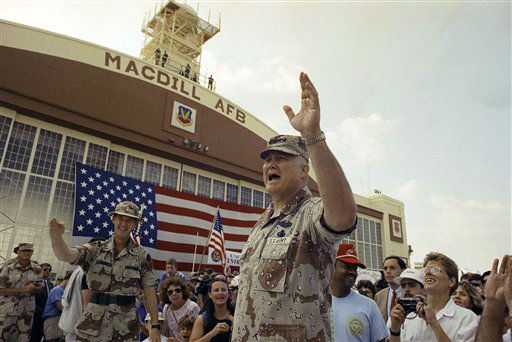 FILE - In this April 22, 1991 file photo, General H. Norman Schwarzkopf waves to the crowd after a military band played a song in his honor at welcome home ceremonies at MacDill Air Force Base in Tampa, Fla. Schwarzkopf died Thursday, Dec. 27, 2012 in Tampa, Fla. He was 78. &#40;AP Photo&#47;Lynne Sladky, File&#41; <span class=meta>(AP Photo&#47; Lynne Sladky)</span>
