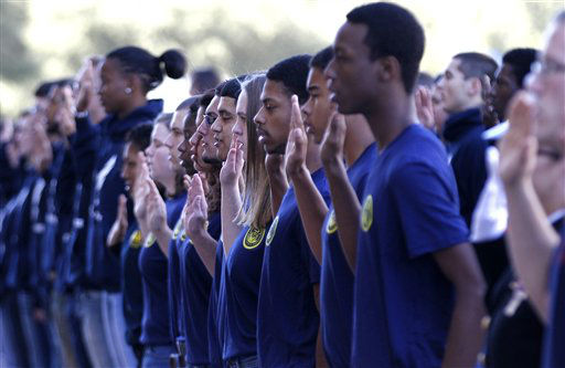 "<div class=""meta ""><span class=""caption-text "">New military enlistees take their oath in front of Dallas City Hall before the Veteran's Day parade Monday, Nov. 12, 2012, in Dallas. More than 150 enlistees from each military branch were on hand to take the U.S. Armed Forces Oath of Enlistment. (AP Photo/LM Otero) (AP Photo/ LM Otero)</span></div>"