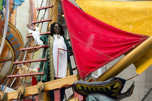 "<div class=""meta ""><span class=""caption-text "">Whoopi Goldberg rides a float in the Macy's Thanksgiving Day Parade in New York, Thursday, Nov. 22, 2012. The American harvest holiday came as portions of the Northeast were still coping with Superstorm Sandy's havoc, and volunteers planned to serve thousands of turkey dinners to people it left homeless or struggling. (AP Photo/Charles Sykes) (AP Photo/ Charles Sykes)</span></div>"