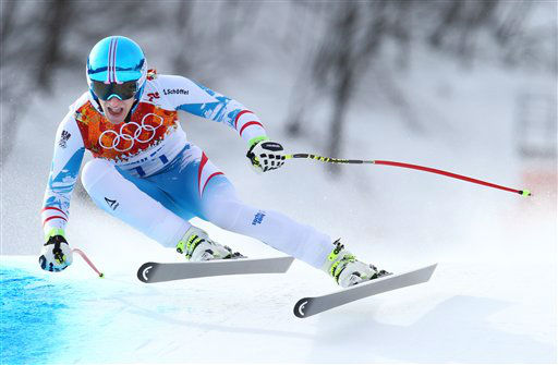 "<div class=""meta ""><span class=""caption-text "">Austria's Matthias Mayer makes a turn in the men's downhill on his way to winning a gold medal at the Sochi 2014 Winter Olympics, Sunday, Feb. 9, 2014, in Krasnaya Polyana, Russia. (AP Photo/Alessandro Trovati)</span></div>"