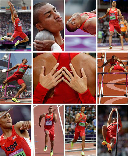 This combination of eleven photos shows in the center frame, United States&#39; Ashton Eaton being embraced by his fiancee Brianne Theisen after winning gold in the decathlon following the 1500-meter race during the athletics in the Olympic Stadium at the 2012 Summer Olympics, London, Thursday, Aug. 9, 2012. The other ten frames show Eaton competing in the ten disciplines that comprise the decathlon event over two days, Wednesday to Thursday, Aug. 8-9, at the London Olympics - from top left, clockwise: the long jump, shot put, high jump, 400-meter run, 110-meter hurdles, pole vault, 1500-meter run, 100-meter run, javelin and discus. &#40;AP Photo&#41; <span class=meta>(AP Photo&#47; Uncredited)</span>