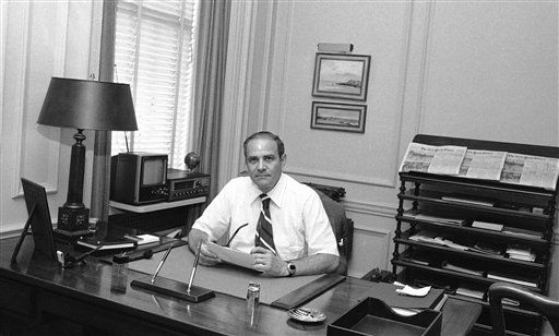 FILE - This July 20, 1977 file photo shows New York Times publisher Arthur Ochs Sulzberger in his office in New York. Sulzberger has died at age 86.  The newspaper reports that his family says Sulzberger died Saturday, Sept. 29, 2012, at his home in Southampton, N.Y., after a long illness. He had retired in 1992 after three decades at the paper&#39;s helm and was succeeded by his son, Arthur Jr.  &#40;AP Photo&#47;Ray Howard, File&#41; <span class=meta>(AP Photo&#47; Ray Howard)</span>