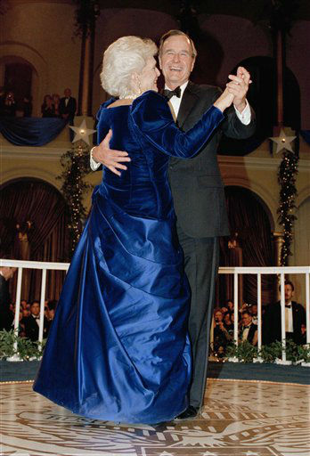 President  George H.W. Bush and wife, Barbara dance at the inaugural ball at the Pension Building in Washington, on Friday, Jan. 20, 1989. &#40;AP Photo&#47;Scott Applewhite&#41; <span class=meta>(AP Photo&#47; Scott Applewhite)</span>