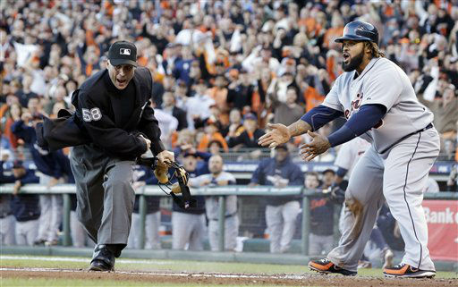 "<div class=""meta ""><span class=""caption-text "">Detroit Tigers' Prince Fielder reacts as home plate umpire Dan Iassogna calls him out on a play at the plate during the second inning of Game 2 of baseball's World Series against the San Francisco Giants Thursday, Oct. 25, 2012, in San Francisco. (AP Photo/David J. Phillip) (AP Photo/ David J. Phillip)</span></div>"