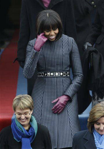 "<div class=""meta image-caption""><div class=""origin-logo origin-image ""><span></span></div><span class=""caption-text"">First lady Michelle Obama arrives at the ceremonial swearing-in of President Barack Obama at the U.S. Capitol during the 57th Presidential Inauguration in Washington, Monday, Jan. 21, 2013. (AP Photo/Pablo Martinez Monsivais) (AP Photo/ Pablo Martinez Monsivais)</span></div>"