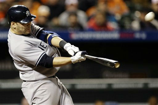 New York Yankees&#39; Russell Martin hits a solo home run in the ninth inning of Game 1 of the American League division baseball series against the Baltimore Orioles, Sunday, Oct. 7, 2012, in Baltimore. &#40;AP Photo&#47;Patrick Semansky&#41; <span class=meta>(AP Photo&#47; Patrick Semansky)</span>