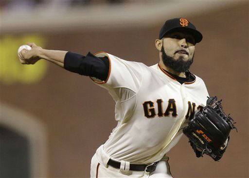 San Francisco Giants&#39; Sergio Romo throws during the ninth inning of Game 2 of baseball&#39;s World Series against the Detroit Tigers Thursday, Oct. 25, 2012, in San Francisco. &#40;AP Photo&#47;Marcio Jose Sanchez&#41; <span class=meta>(AP Photo&#47; Marcio Jose Sanchez)</span>