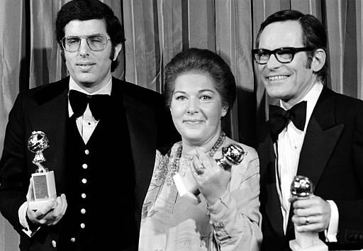 "<div class=""meta ""><span class=""caption-text "">Composer Marvin Hamlisch, left, joins lyricists Marilyn Bergman, center, and Alan Bergman at the Golden Globe Awards ceremony after they won for best song, ""The Way We Were,"" in Beverly Hills, Ca., Jan. 26, 1974.  (AP Photo) (AP Photo/ XNBG)</span></div>"