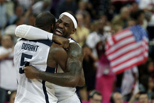 United States&#39; LeBron James and Kevin Durant react during the men&#39;s gold medal basketball game against Spain at the 2012 Summer Olympics, Sunday, Aug. 12, 2012, in London. USA won 107-100. &#40;AP Photo&#47;Charles Krupa&#41; <span class=meta>(AP Photo&#47; Charles Krupa)</span>