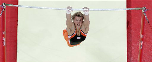 Gymnast from the Netherlands Epke Zonderland  performs on the horizontal bar during the artistic gymnastics men&#39;s apparatus finals at the 2012 Summer Olympics, Tuesday, Aug. 7, 2012, in London. &#40;AP Photo&#47;Julie Jacobson&#41; <span class=meta>(AP Photo&#47; Julie Jacobson)</span>