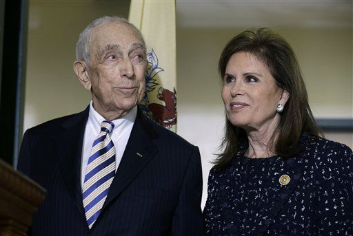 Sen. Frank Lautenberg, 89, the oldest member of the U.S. Senate, stands with wife Bonnie Englebardt Lautenberg, Friday, Feb. 15, 2013, in Paterson, N.J., as he is introduced to a gathering where he announced plans to retire at the end of his current term.  . Lautenberg, 89, confirmed he would step down when his term ends in 2015 rather than seek re-election at age 90. &#40;AP Photo&#47;Mel Evans&#41; <span class=meta>(AP Photo&#47; Mel Evans)</span>