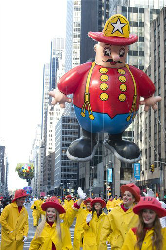 "<div class=""meta ""><span class=""caption-text "">The Harold the Fireman balloon floats in the Macy's Thanksgiving Day Parade in New York in New York, Thursday, Nov. 22, 2012. The American harvest holiday came as portions of the Northeast were still coping with the wake of Superstorm Sandy, and volunteers planned to serve thousands of turkey dinners to people it left homeless or struggling. (AP Photo/Charles Sykes) (AP Photo/ Charles Sykes)</span></div>"