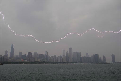 "<div class=""meta image-caption""><div class=""origin-logo origin-image ""><span></span></div><span class=""caption-text"">Lighting flashes over the Chicago skyline, Wednesday, June 12, 2013. An unusually massive line of storms packing hail, lightning and tree-toppling winds was rolling through the Midwest on Wednesday and could affect more than one in five Americans from Iowa to Maryland. (AP Photo/Scott Eisen) (AP Photo/ Scott Eisen)</span></div>"