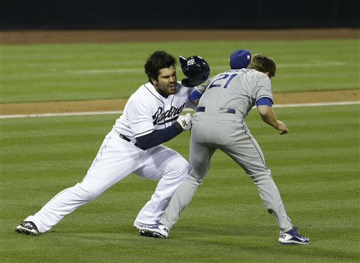 "<div class=""meta ""><span class=""caption-text "">San Diego Padres' Carlos Quentin charges into Los Angeles Dodgers  pitcher Zack Greinke after being hit by a pitch in the sixth inning of baseball game in San Diego, Thursday, April 11, 2013. (AP Photo/Lenny Ignelzi) (AP Photo/ Lenny Ignelzi)</span></div>"