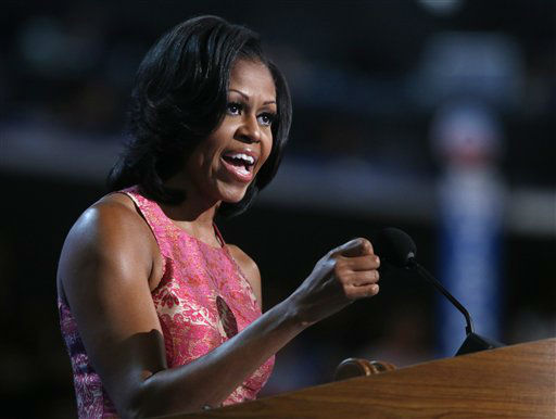 "<div class=""meta ""><span class=""caption-text "">First lady Michelle Obama addresses the Democratic National Convention in Charlotte, N.C., on Tuesday, Sept. 4, 2012. (AP Photo/Jae C. Hong) (AP Photo/ Jae C. Hong)</span></div>"