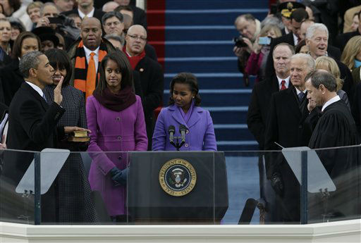 "<div class=""meta ""><span class=""caption-text "">President Barack Obama is sworn by Chief Justice John Roberts at the ceremonial swearing-in at the U.S. Capitol during the 57th Presidential Inauguration in Washington, Monday, Jan. 21, 2013. (AP Photo/Pablo Martinez Monsivais) (AP Photo/ Pablo Martinez Monsivais)</span></div>"