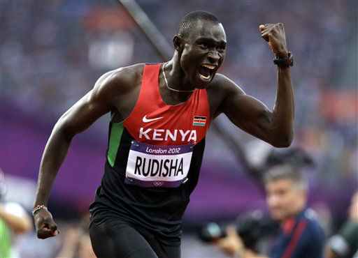 Kenya&#39;s David Lekuta Rudisha celebrates his win in the men&#39;s 800-meter final during the athletics in the Olympic Stadium at the 2012 Summer Olympics, London, Thursday, Aug. 9, 2012. Rudisha set a new world record with a time of 1:40.91.&#40;AP Photo&#47;Anja Niedringhaus&#41; <span class=meta>(AP Photo&#47; Anja Niedringhaus)</span>