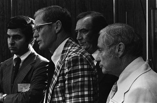 Four northeast governors hold a news conference at the National Governor?s northeast governors, July 5, 1976 in Hershey. Left to right: Governors Michael Dukakis Mass.; Brendan Byrne, New Jersey; Hugh Carey, New York and Milton Shapp, Pennsylvania. &#40;AP Photo&#41; <span class=meta>(AP Photo&#47; Anonymous)</span>