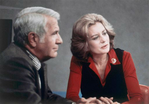 FILE - Barbara Walters shown after opening night on the ABC evening news with Anchor partner, Harry Reasoner on Oct. 4, 1976. Walters has been offered to join &#34;ABC Evening News,&#34; which would make her the first woman to co-anchor the network news. Walters is the first woman to co-anchor the network news. The veteran ABC News anchor is set to announce Monday morning May 13, 2013 on &#34;The View&#34; that she will retire from TV journalism next summer. &#40;AP Photo&#41; <span class=meta>(AP Photo&#47; Uncredited)</span>