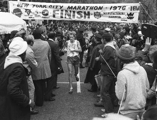 With his tongue hanging out of his mouth, Bill Rodgers of Melrose, Mass., crosses the finish line to win the 1976 New York City marathon, Sunday, Oct. 24, 1976. &#34;This was ideal weather for me,&#34; said Rodgers, who finished a disappointing 40th at the Montreal Olympic Games. The marathon was run in cool uper forty and lower fifty degree temperatures. &#40;AP photo&#47;str&#47;lw&#41; <span class=meta>(AP Photo&#47; LW)</span>