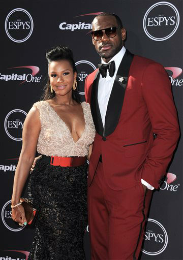 Miami Heat&#39;s LeBron James, right, and Savannah Brinson arrive at the ESPY Awards on Wednesday, July 17, 2013, at Nokia Theater in Los Angeles. &#40;Photo by Jordan Strauss&#47;Invision&#47;AP&#41; <span class=meta>(Photo&#47;Jordan Strauss)</span>