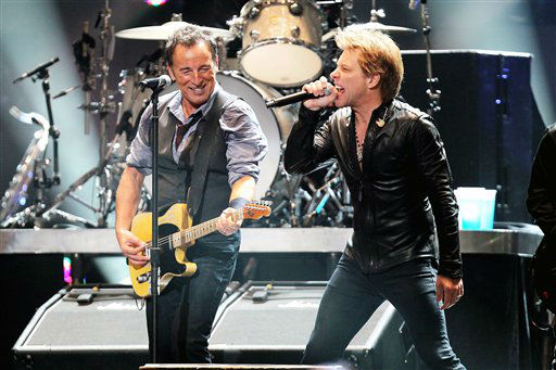 In this image released by Starpix, Bruce Springsteen, left, and Jon Bon Jovi perform during 12-12-12 The Concert for Sandy Relief at Madison Square Garden in New York on Wednesday, Dec. 12, 2012. Proceeds from the show will be distributed through the Robin Hood Foundation. &#40;AP Photo&#47;Starpix, Dave Allocca&#41; <span class=meta>(AP Photo&#47; Dave Allocca)</span>