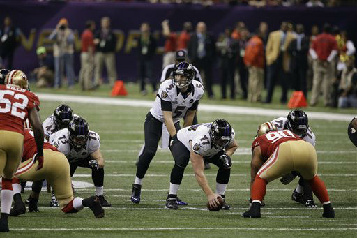 "<div class=""meta image-caption""><div class=""origin-logo origin-image ""><span></span></div><span class=""caption-text"">Baltimore Ravens quarterback Joe Flacco (5)  works against the San Francisco 49ers NFL Super Bowl XLVII football game Sunday, Feb. 3, 2013, in New Orleans. (AP Photo/Elise Amendola) (AP Photo/ Elise Amendola)</span></div>"