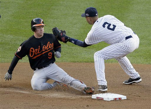 Baltimore Orioles&#39; Nate McLouth, left, safely steals second base ahead of the tag by New York Yankees shortstop Derek Jeter during the fourth inning in Game 5 of the American League division baseball series on Friday, Oct. 12, 2012, in New York. &#40;AP Photo&#47;Peter Morgan&#41; <span class=meta>(AP Photo&#47; Peter Morgan)</span>