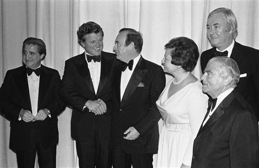 Gov. Hugh Carey welcomes Sen. Edward Kennedy, left, to New York&#39;s Waldorf Astoria Hotel in New York City Wednesday, June 15, 1977. Kennedy was the main speaker at democratic state committee dinner, a &#36;200-a-plate fund-raising affair. &#40;AP Photo&#41; <span class=meta>(AP Photo&#47; XJFM S  RE.)</span>