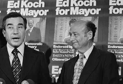 Rep. Herman Badillo, left, speaks during a meeting in New York, Sept. 12, 1977, in which he announced his support for fellow Congressman Ed Koch, in the latter&#39;s bid for a victory in the Democratic mayoral runoff.  Koch told reporters that Badillo &#34;is going to be working with me at the top level every day,&#34; during his campaign for New York mayor.  &#40;AP Photo&#47;Suzanne Vlamis&#41; <span class=meta>(AP Photo&#47; SUZANNE VLAMIS)</span>