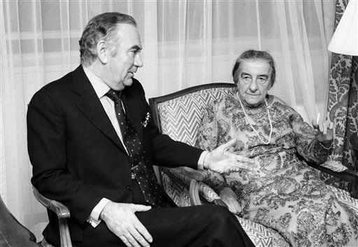 New York Gov. Hugh Carey gestures as he chats with former Israeli Prime Minister Golda Meir, right, in her New York City Hotel room Sunday, Nov 6, 1977.    Carey called on Mrs. Meir prior to attending the preview performance of the Broadway play &#34;Golda&#34; based on Mrs. Meir&#39;s life.  &#40;AP Photo&#47;Carlos Rene Perez&#41; <span class=meta>(Photo&#47;Carlos Rene Perez)</span>
