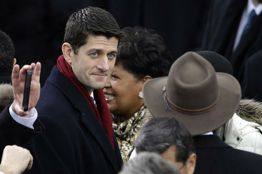 Rep. Paul Ryan, R-Wis., arrives at the ceremonial swearing-in for President Barack Obama at the U.S. Capitol during the 57th Presidential Inauguration in Washington, Monday, Jan. 21, 2013. &#40;AP Photo&#47;Carolyn Kaster&#41; <span class=meta>(AP Photo&#47; Carolyn Kaster)</span>