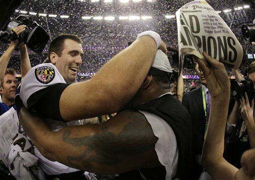 Baltimore Ravens quarterback Joe Flacco, left, and linebacker Ray Lewis celebrates their 34-31 win against the San Francisco 49ers in NFL Super Bowl XLVII football game Sunday, Feb. 3, 2013, in New Orleans. &#40;AP Photo&#47;Matt Slocum&#41; <span class=meta>(AP Photo&#47; Matt Slocum)</span>