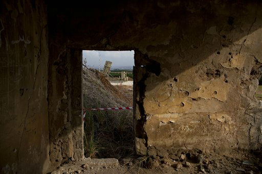A military Iron Dome defense missile system, designed to intercept and destroy incoming short-range rockets and artillery shells from Gaza, is seen through an abandoned house near Tel Aviv Sunday, Nov. 18, 2012. &#40;AP Photo&#47;Oded Balilty&#41; <span class=meta>(AP Photo&#47; Oded Balilty)</span>