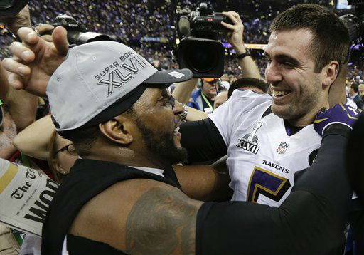 Baltimore Ravens linebacker Ray Lewis, left, and quarterback Joe Flacco celebrate their 34-31 win against the San Francisco 49ers in the NFL Super Bowl XLVII football game, Sunday, Feb. 3, 2013, in New Orleans. &#40;AP Photo&#47;Julio Cortez&#41; <span class=meta>(AP Photo&#47; Julio Cortez)</span>