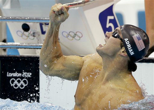 "<div class=""meta ""><span class=""caption-text "">United States' Nathan Adrian celebrates his gold medal win in the men's 100-meter freestyle swimming final at the Aquatics Centre in the Olympic Park during the 2012 Summer Olympics in London, Wednesday, Aug. 1, 2012. (AP Photo/Matt Slocum) (AP Photo/ Matt Slocum)</span></div>"