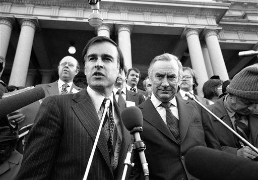 Gov. Jerry Brown, left, of California, and Hugh Carey, of New York talk with reporters outside the executive office building in Washington, Monday, Feb. 22, 1978. They were among a group of governors who met with President Carter. &#40;AP Photo&#47;Tasnadi&#41; <span class=meta>(AP Photo&#47; Tasnadi)</span>