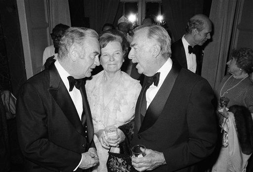 New York Gov. Hugh Carey, left, listens to CBS-TV news anchorman Walter Cronkite during a reception for Cronkite on Monday, April 25, 1978 in New York. Center is Cronkite wife Betsy. &#40;AP Photo&#47;CRP&#41; <span class=meta>(AP Photo&#47; CRP)</span>